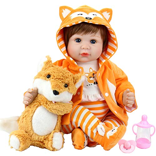 Aori Reborn Baby Doll 22 Inch Realistic Dolls Weighted Lifelike Baby Girl with Fox Set