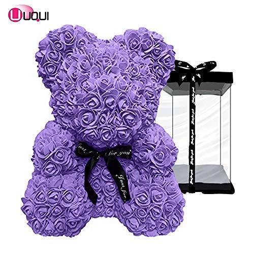 U UQUI Rose Bear Animal Teddy Cub Bear Forever Rose Flower Bear Pe Foam Artificial Simulated Flower for Anniversary, Christmas, Silver Day Gift(Purple,Small)