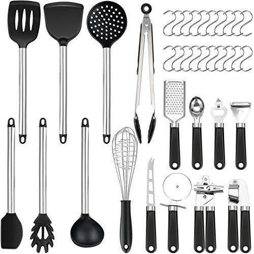 Set di 36 utensili da cucina | in silicone antiaderente resistente al calore | Set di spatole in silicone | utensili da cucina