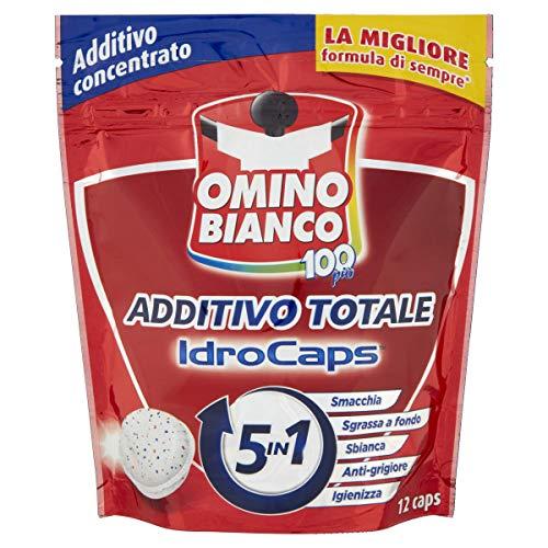 Omino Bianco - Additivo Lavatrice Totale 5 Azioni in 1 Idrocaps, Capsule Idrosolubili per Bucato, Smacchiante e Igienizzante,1 Confezione x 12 Caps