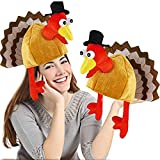 2 Pack Thanksgiving Party Turkey Hat Costume Unisex Hat with Tail Gifts Party Decor Costumes Novelty Turkey Hat Orange