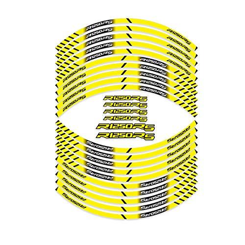 Pegatina para rueda de motocicleta, impermeable, reflectante, para llanta, rayas de neumáticos, pegatinas de protección para decoración de etiquetas (color: amarillo)