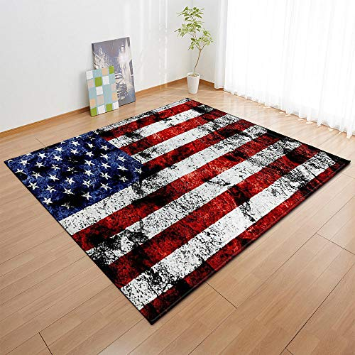Teppich Kurzflor weicher Designer Anti-Rutsch Unterseite fürs Wohnzimmer Schlafzimmer & die Kinderzimmer geeignet Weiß gestreifte rot gestreifte amerikanische Flagge Teppich Größen: 200 x 300 cm