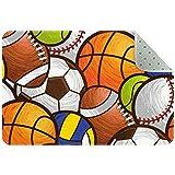 Bennigiry Alfombra deportiva con patrón de pelotas de fútbol, voleibol, baloncesto, alfombra para sala de estar, dormitorio, sala de juegos, 88,9 x 60,9 cm