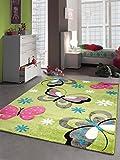 CARPETIA Kinderteppich Spielteppich Kinderzimmer Mädchen Teppich Schmetterling grün Größe 160x230 cm