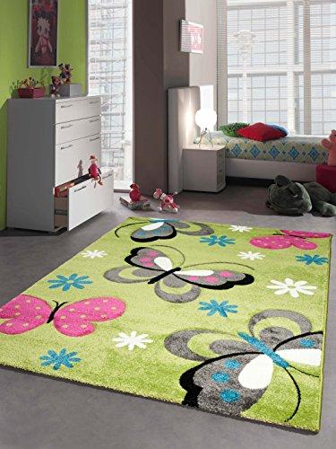 CARPETIA Kinderteppich Spielteppich Kinderzimmer Mädchen Teppich Schmetterling grün Größe 80x150 cm