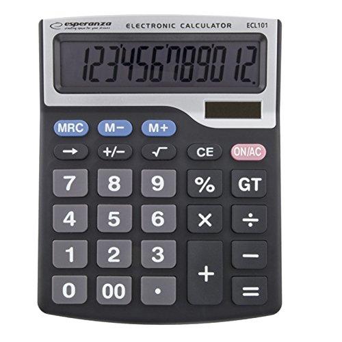 Esperanza ECL101 bureaurekenmachine, basisrekenmachine, 12-cijferige, kanteling van het scherm, batterij/zonne-energie, zwart