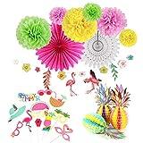 Easy Joy Summer Party Hawaii Mottoparty Ananas Tischdeko Flamingo Girlande Kokosnuß Foto Requisiten Geburtstagsdeko Kit Bunt