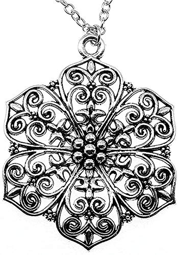 Yiffshunl Collar Collares para Mujer Collar con Colgante de Flor Hueca Tallada Grande 66X52Mm Collar de joyería de Color Plateado Antiguo Regalo