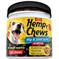 Dog Hip and Joint Supplement - Hemp Treats for Dogs - Glucosamine for Dogs with Chondroitin, MSM, Omega 3, Turmeric - 120 Advanced Mobility Bites - Calming Chews for Dogs - Pain Relief - Made in USA