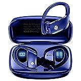 Auriculares Inalambricos Deportivos, Audífonos para Correr con Bluetooth 5.0, In-Ear Running Auriculares Wireless IPX5 con Mic Pantalla LED para Deporte y Correr en Gimnasio (Azul)