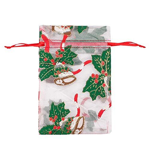 50 Uds., Bolsa de regalo de organza con cordón de Navidad, bolsas de regalo de chocolate con concha de caramelo para boda-05_10X15