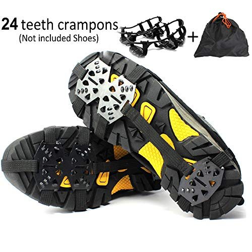 Puoyis Ice Snow Cleats Crampons for Shoes Boots, Shoes Spikes Anti Slip Traction Grips for Winter Hiking Fishing Walking Climbing Jogging Mountaineering
