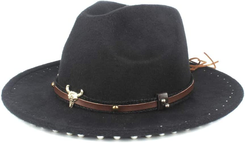 Ladies Men's Jazz Fedora Fedora Hat Wool Polyester Panama Hats Autumn Winter Leather Belt (Color : Black, Size : 56-58cm)