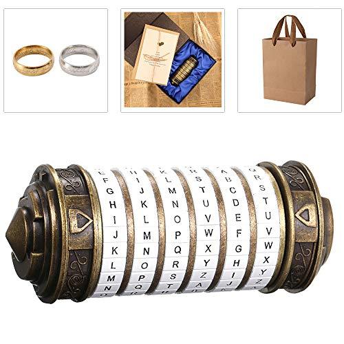 Blusea Caja de Regalo de San Valentín para Hombre/Mujer, Da Vinci con Anillo e Caja Cerradura Cilíndrica de Código, Metal Cryptex Regalo Boda Contraseña, Retro Decoración para Hogar