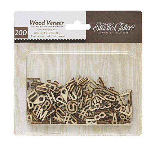 American Crafts Studio Calico-Darling Dear Holz Eichenfurnier, Alphabet und Zahlen