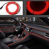 Neon LED EL cable para interior automotriz Cosplay lámpara de línea electroluminiscente LED emisora de luz decorativa con unidad de tira de luz 5V,Rojo, 5 m