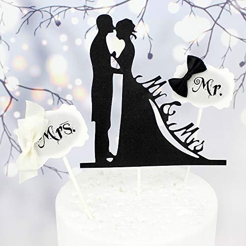 3 stks Mr & Mrs Couples Cake Flags Bruiloft Cake Topper Bruid Groom Bruiloft Feest Cake Bakken Decor Engagement Cake Gereedschap