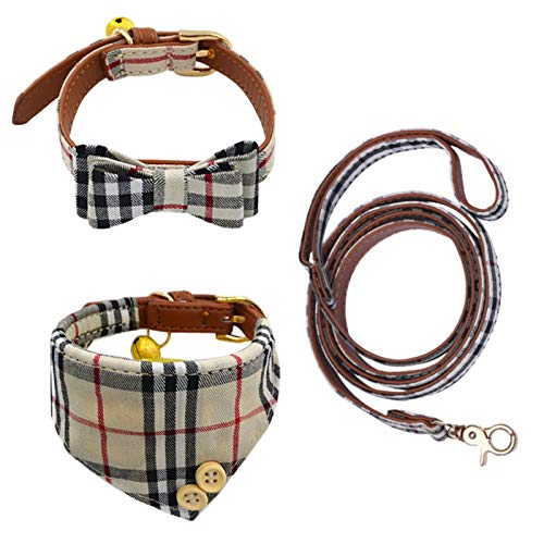 Classic Plaid Bow Tie Dog Collar and Leash Set with Removable Bell 3pcs, Soft Cotton Cute Bandana Harness Bibs Scarf & Leather Neck Belts Accessories, Unique Design for Puppy Cats