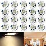 AUFUN Foco Empotrable 20 x 3W Lámpara LED de techo LED Luz de Techo 210V-240V LED empotrable Regulable con Giratorio para salón o dormitorio cocina - Blanco cálido