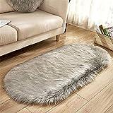 Dicker Teppich Hochwertig Teppich Flur Carpet Warmer ovaler ovaler Wollgroßer Teppich der weichen Note des Fauxpelzes grau 80 * 150CM