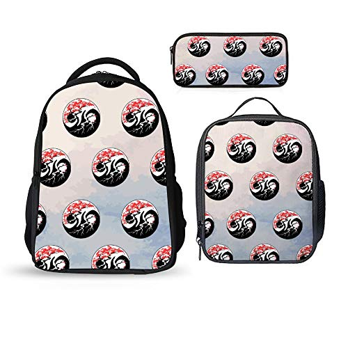SARA NELL School Backpacks 3 Set Bonsai Yin Yang Backpack with Lunch Bag and Pencil Case Kids 3 in 1 Bookbags Set School Bag for Boys Girls