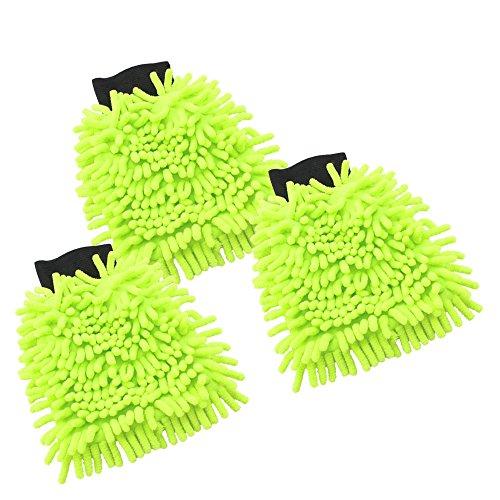com-four® 3X Set Chenille Putz,- und Waschhandschuh in Neongrün, Microfaser, 22 x 16 cm (003 Stück - neongrün)