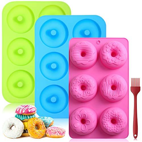 Aitsite Stampo per Ciambelle in Silicone,Stampo per Ciambelle in Silicone Antiaderente,Rotonda e Fiori Donut Stampi per Cioccolato,Muffin,3 Pack