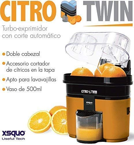 XSQUO USEFUL TECH CITROTWIN TURBO EXPRIMIEUR DOUBLE CABEZAL AVEC FONCTION DE COUPE DE FRUITE 90W PLASTIQUE
