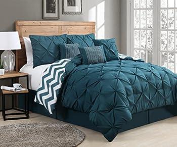 Avondale Manor 7 Piece Venice Pinch Pleat Comforter Set Queen Teal