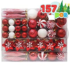 SUPER VALUE PACK. Our Christmas Ornament Set includes 18 Stripes Icicles, 14 White Snowflakes, 14 Red Snowflakes, 14 Red Glitter Balls, 14 Disco Balls, 9 Red Matte Balls, 9 White Balls, 8 Snowy Pinecone Balls, 6 Bells, 6 Mittens, 6 Stars, 6 Stockings...