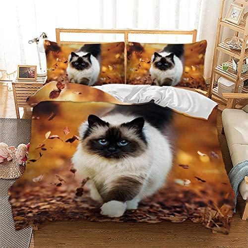 Juego de ropa de cama con diseño de animales, gato y perro, microfibra, impresión digital 3D, 3 piezas, con cremallera y funda de almohada, juego de cama juvenil (135 x 200 cm + 1 x 50 x 75 cm)