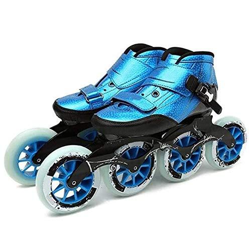 MAMU Adult Profisport Racing Skates, 4 * 90-110Mm Räder Carbon Fiber Inline Speed Skates Für Frauen Inline-Rollen-Hockey-Skates,Blau,34