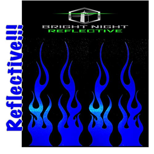"""Flame Decals Reflective (2) 1.25""""x5.25"""" Great for Helmets, Motorcycles, Computer Stickers, Phone, Tablet, Hard hat (Blue Reflective)"""