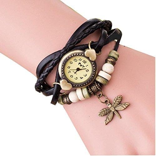 Demarkt Retro Reloj de Pusra del Brazalete Cuero Trenzado con Libélula Colgante (Negro)
