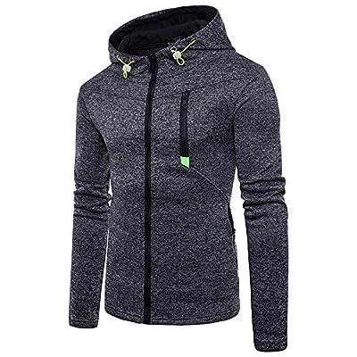 Ulanda Mens Slim Fit Long Sleeve Lightweight Zip-up Hoodie Sweatshirts Warm Hoody Coat Jacket