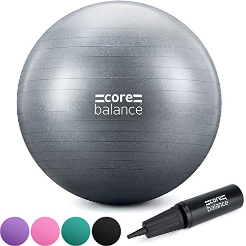 Core Balance Anti Burst Gym Ball With Inflation Pump, 55cm 65cm 75cm 85cm, Inflatable Birthing Pregnancy Swiss Ball, Yoga, Pilates, Exercise, Fitness