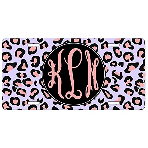 Simply Customized Personalized License Plate Monogram Purple Pink Cheetah Leopard Animal Print License Plate Car Auto Tag Aluminum PLP