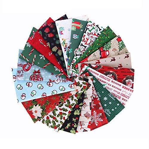 wcflyp Weihnachten Muster Baumwollstoff Meterware Stoffe Stoffreste Stoffpaket für Patchwork 100{1a4e7f63cdf68d9aba263424e1ae6a0c198c8d27c96073617762edc2a8aa2bb1} Baumwolle DIY Baumwolltuch mit vielfältiges Muster zum Nähen,25×20cm(10 Stücke)