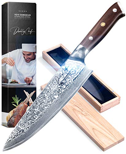 Daddy Chef Chef Knife 8 inch  Damascus Blade from Japanese 67 Layer Stainless Steel  Professional kitchen chefs chopping carving knife  Hammered Finish  Ultra Sharp  Precision Cutting