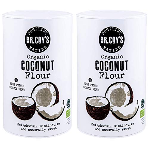 Dr. Coy's Organic Coconut Flour 1kg - Gluten Free Flour from Pure Dried Coconut for Healthier Bread, Pizza and Baked Goods - High Protein, Low Carb, High Fibre - Keto Friendly - 2x500g Resealable Tubs