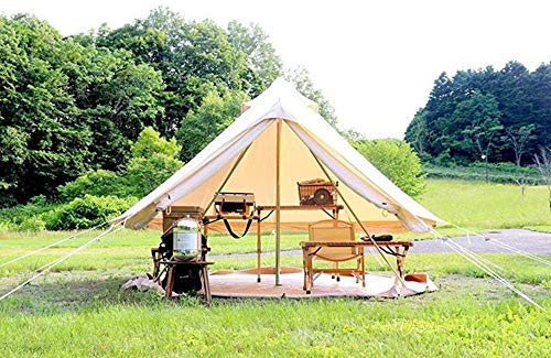 DANCHEL OUTDOOR Cotton Canvas 4M Yurt Tent with 2 Stove Jacks, Glamping Tents for Camping(Top and Wall), 13ft