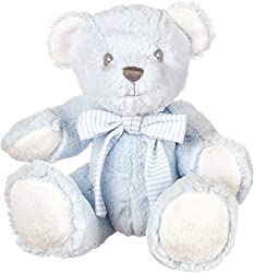 """Suki Baby Hug-a-Boo Blue Small bear rattle Supersoft plush bear wearing a striped cotton bow 7"""" (17.8cm) approx small Bear Includes rattle within tummy hand wash, air dry"""