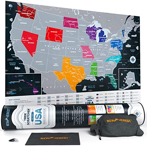 Newverest Scratch Off Map of The United States - Travel Decor Map - Original Gifts for Travelers Women & Men - US Travel Map Poster Fits 17 x 24 Inches - Wall Map of USA Traveler's Edition