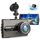 【2019進化版HD1296P】ドライブレコーダー WIMIUS 前後カメラ デュアルドライブレコーダー 1200万画素 170°広視野角 G-sensor駐車監視 WDR ドラレコ 4.0インチモニター ループ録画 リアカメラ付き 常時録画 高速起動 動き検知 日本語説明書付き 1年保証