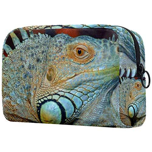 ATOMO Bolsa de maquillaje, bolsa de viaje de moda, neceser grande, organizador de maquillaje para mujeres, animal reptil Iguana
