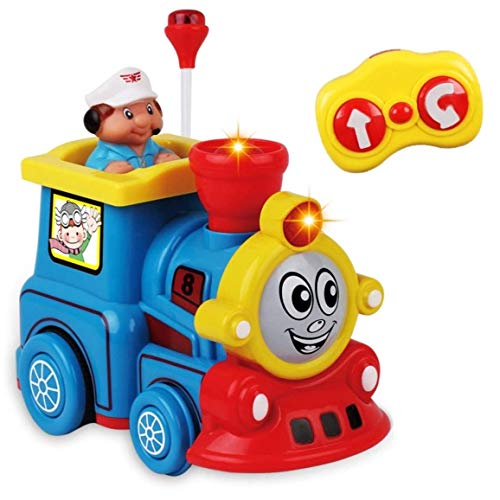 Remote Control Cartoon Toy Train RC Radio Control Locomotive Car with Light, Sound and Music