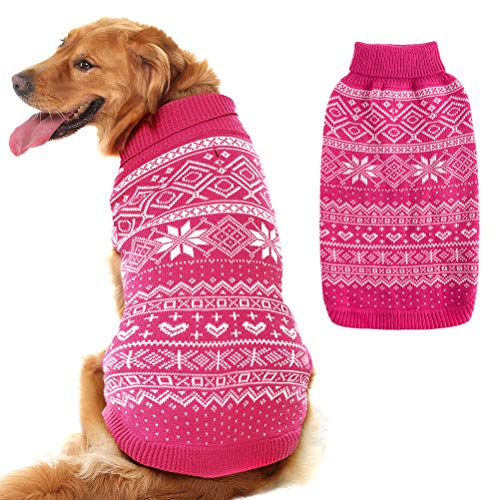 Dog Sweater Argyle - Warm Sweater Winter Clothes Puppy Soft Coat Dogs Pink Large