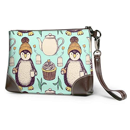 Hdadwy Wristlet Handtasche Skizze Pinguin Hut Tasse Tee Keks Leder Wristlet Clutch Brieftasche für Frauen Damen Clutch Geldbörse Smartphone Wristlet Geldbörse
