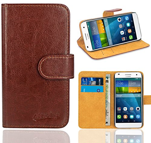 Huawei Ascend G7 Handy Tasche, FoneExpert® Wallet Hülle Flip Cover Hüllen Etui Ledertasche Lederhülle Premium Schutzhülle für Huawei Ascend G7 (Wallet Braun)